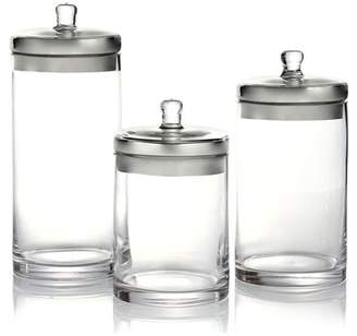 Jay Import Silver Lid Glass Canisters - 3-Piece Set
