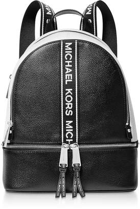 Michael Kors Black and White Rhea Zip Medium Backpack