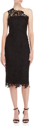 Shoshanna Black Evie Lace Midi Dress