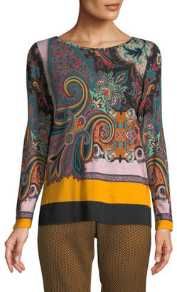 Etro Crewneck Long-Sleeve Paisley-Print Jersey Wool Sweater Top
