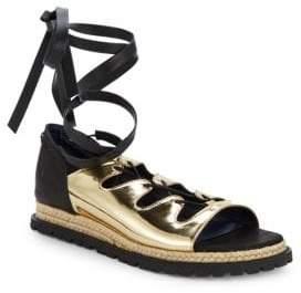 Sacai Leather Wrap Espadrille Sandals
