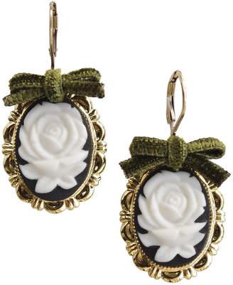 Poporcelain Rose Oval Porcelain Cameo Earrings