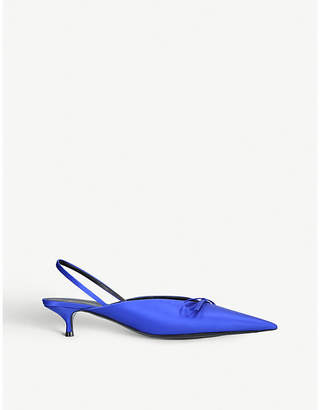 Balenciaga Ladies Blue Knife Satin Slingback Courts Shoes