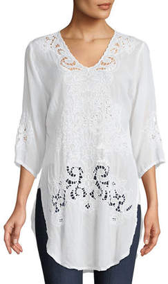 Johnny Was Arlene Eyelet Applique Top, Plus Size