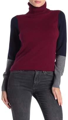 Kier & J Cashmere Colorblock Turtleneck Sweater