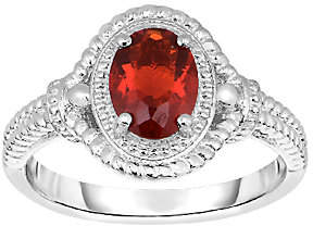 QVC 3/4 cttw Oval Red Fire Opal & Textured Ring, Sterling