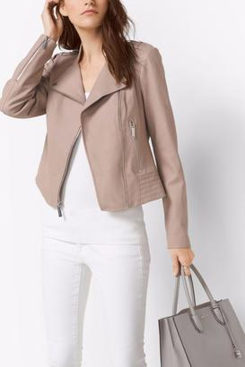 Michael by Michael Kors Leather Moto Jacket $393 thestylecure.com
