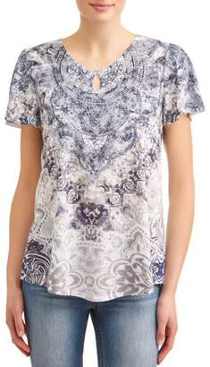 2adc555fd0a Time and Tru Women s Flutter Sleeve Keyhole Sublimation T-Shirt