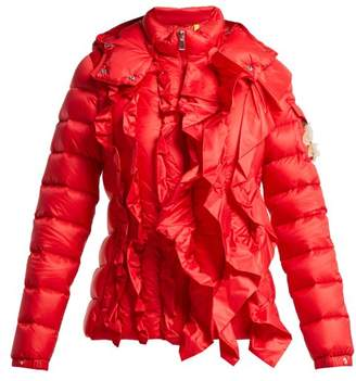 Simone Rocha 4 Moncler Darcy Ruffle Trim Hooded Quilted Down Jacket - Womens - Red