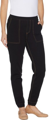 Denim & Co. Petite Comfy Knit Denim Pull On Jogger Pants