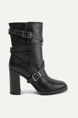 Gianvito Rossi 90 Buckled Leather Ankle Boots - Black