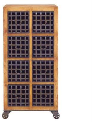 Benzara 14817 Drawer Rich Wood Metal Drawer Chest