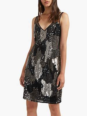 9ac07760 French Connection Astara V-Neck Sequin Dress, Black