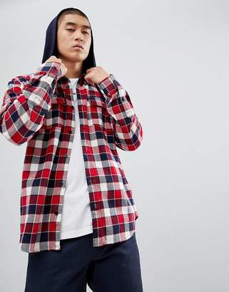DC Check Shirt with Hood in Red