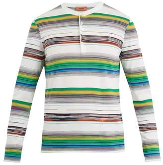 Missoni Open Neck Stripe Knit Cotton Sweater - Mens - White Multi