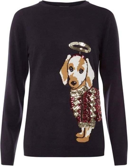 Womens Navy Sequin Embellished Sausage Dog Jumper