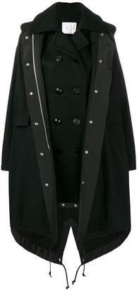 Sacai layered double-breasted coat