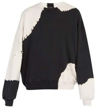 Amiri Bleached Cotton Oversized Sweater - Mens - Black
