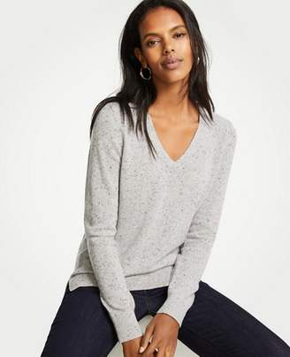 Ann Taylor Cashmere Flecked V-Neck Sweater