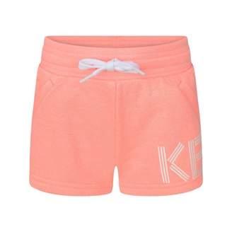 Kenzo KidsGirls Neon Pink Logo Print Shorts