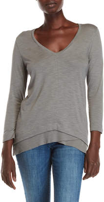 Lilla P Ribbed Hem V-Neck Top