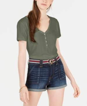 Hippie Rose Juniors' Rib-Knit Snap-Front Top