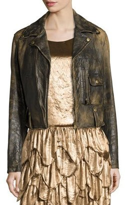 Ralph Lauren Collection Dwight Distressed Leather Jacket, Black $3,490 thestylecure.com