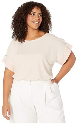 Calvin Klein Plus Plus Size Short Sleeve Top with Detail Sleeve