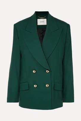 Erdem Jasper Double-breasted Grain De Poudre Wool-blend Blazer - Emerald
