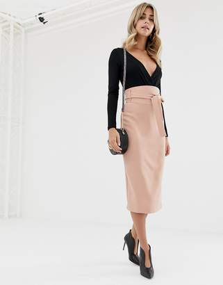 Asos DESIGN high waist midi skirt with tie