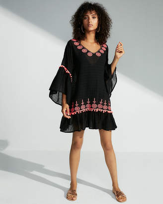 Express Bell Sleeve Embroidered Cover-Up