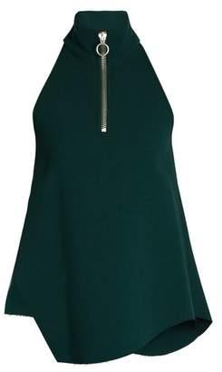 Marques'almeida - Asymmetric Hem High Neck Wool Crepe Top - Womens - Dark Green