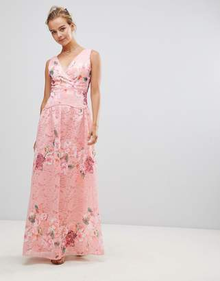 Little Mistress Embroidered Lace Maxi Dress