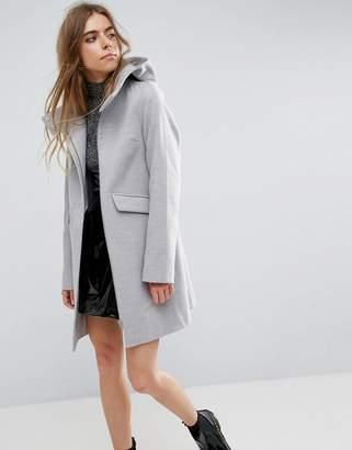 Asos DESIGN Hooded Slim Coat with Zip Front