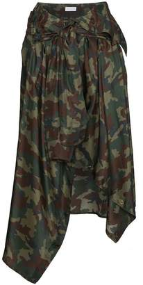 Faith Connexion Silk camouflage skirt with waist tie