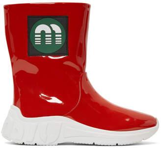 Miu Miu Red Patent Rain Boots