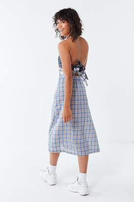 Urban Outfitters Mixed Plaid Halter Midi Dress