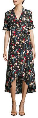 Equipment Imogene Floral Print Wrap Midi Dress