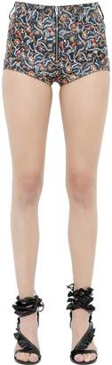 Isabel Marant Floral Printed Nappa Leather Shorts