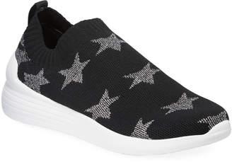 Neiman Marcus Metallic Star Slip-On Knit Sneakers Black\/Silver