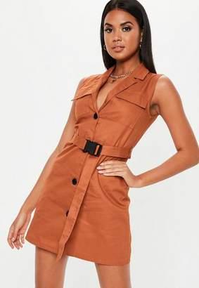 6559cc1c756fd Missguided Rust Sleeveless Belted Blazer Dress