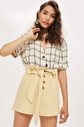 Topshop Linen Button Paper Bag Shorts