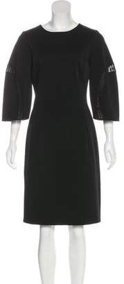 Oscar de la Renta Long Sleeve Knee-Length Dress