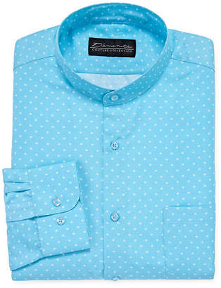 DAMANTE Damante Modern Mens Banded Collar Long Sleeve Dress Shirt