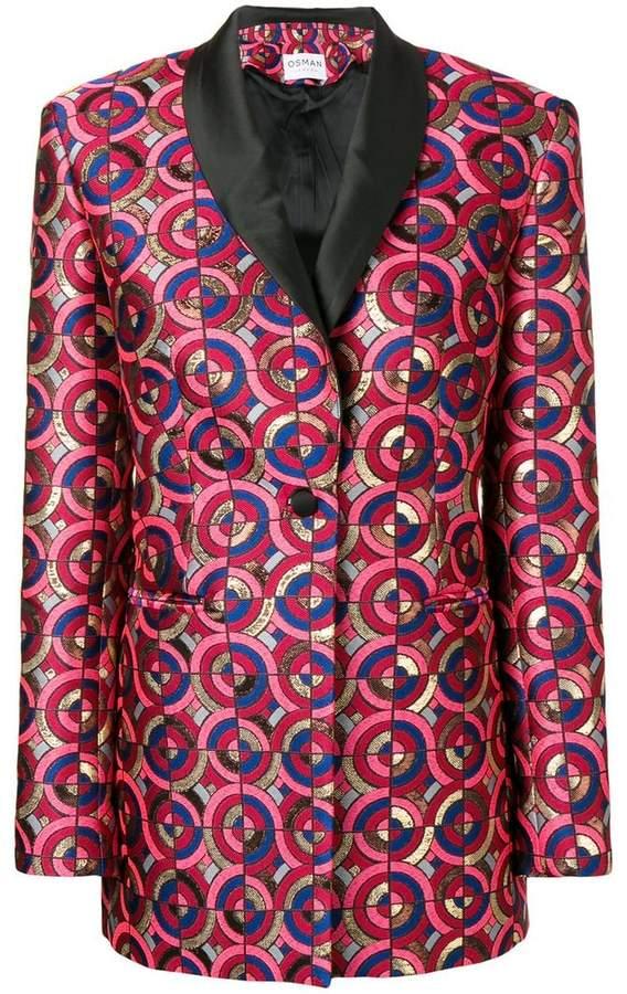 metallic-jacquard blazer