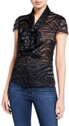 Alice + Olivia Jeannie Bow-Collar Cap-Sleeve Button-Down Top