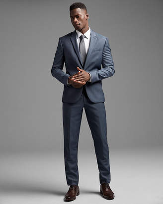 Express Extra Slim Blue Wool Twill Suit Pant