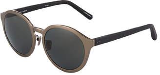 Linda Farrow Oversized Round Snakeskin\/Acetate Sunglasses