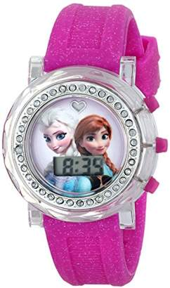 Disney Kids' FZN3580 Frozen Anna and Elsa Flashing-Dial Watch with Glitter Rubber Band