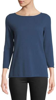 Neiman Marcus Cashmere Boat-Neck Pullover Sweater, Medium Blue